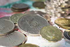 The scattered coins of Hong Kong dollars Royalty Free Stock Images