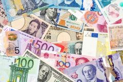 Scattered collection of money from different countries. Scattered collection of money from different countries stock photography