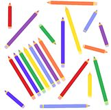 The scattered color pencils Stock Photos