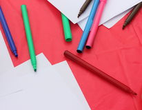 Scattered colored felt-tip pens Royalty Free Stock Photo