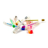 Scattered colored felt tip pens on white background Stock Photo