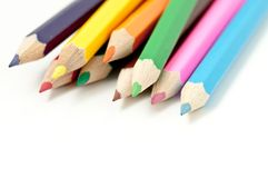 Scattered colored pencils Royalty Free Stock Images