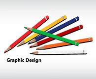 Scattered colored pencils. In a variety of colors with text graphic design no transparencies Stock Photos