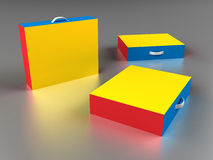 Scattered colorful boxes Royalty Free Stock Photos