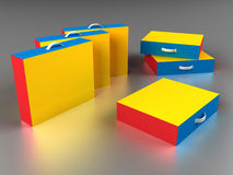 Scattered colorful boxes Royalty Free Stock Image