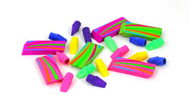 Scattered Colorful Erasers. A group of easily visible bright colorful erasers Royalty Free Stock Images