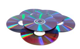 Scattered compact disks close up. (isolated Royalty Free Stock Image