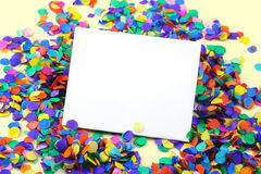 Scattered confetti. Scattered confetti, background with copy space Royalty Free Stock Image