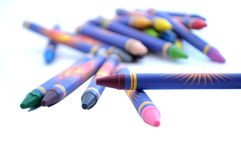 Scattered Crayons. Pile of Scattered Crayons against a white background with Back to School in Mind stock illustration