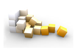 Scattered cubes. Cube, composed of twenty seven smaller cubes Royalty Free Stock Photos