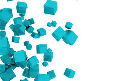 Scattered 3d turquoise cubes. Abstract background of scattered 3d turquoise or cyan cubes tumbling across a white background with copyspace Stock Image