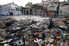 Garment Factory Damage. Scattered Debris in Garment Factory After Fire Damage royalty free stock images