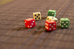 Scattered Dices. On the Table Royalty Free Stock Image