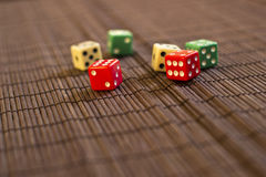 Scattered Dices. On the Table Stock Image
