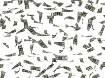 Scattered dollars. 3d scattered dollars on an isolated background Royalty Free Stock Image