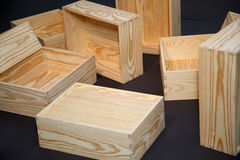 Scattered empty wooden boxes on floor. close-up. royalty free stock photo