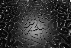 Scattered figures. Low key picture of strewn figures on dark background. High quality 3D render Royalty Free Stock Photo