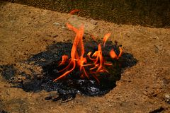 Open scattered flame stock photo