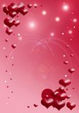 Scattered floating hearts. Illustrations against sparkling red and white background, suitable for romantic theme Stock Photo