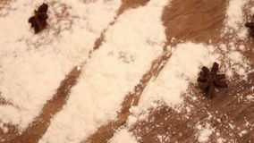 Scattered flour on the table stock footage