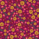 Scattered flowers pink purple yellow blue hand drawn seamless pattern royalty free illustration