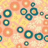 Scattered flowers Seamless vector repeat pattern. Hand drawn florals background teal, yellow, orange, coral. Scandinavian doodle stock illustration
