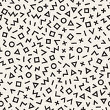 Scattered Geometric Line Shapes. Abstract Background Design. Vector Seamless Black and White Pattern. Stock Photo