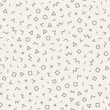 Scattered Geometric Line Shapes. Abstract Background Design. Vector Seamless Black and White Pattern. Royalty Free Stock Photo