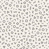 Scattered Geometric Line Shapes. Abstract Background Design. Vector Seamless Black and White Pattern. Royalty Free Stock Photos