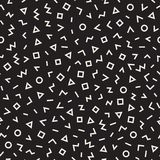 Scattered Geometric Line Shapes. Abstract Background Design. Vector Seamless Black and White Pattern. Royalty Free Stock Images