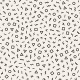 Scattered Geometric Shapes. Inspired by Memphis Style. Abstract Background Design. Vector Seamless Black and White Royalty Free Stock Photos