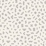 Scattered Geometric Shapes. Inspired by Memphis Style. Abstract Background Design. Vector Seamless Black and White Stock Photography