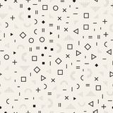Scattered Geometric Shapes. Inspired by Memphis Style. Abstract Background Design. Vector Seamless Black and White Stock Photos