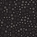 Scattered Geometric Shapes. Inspired by Memphis Style. Abstract Background Design. Vector Seamless Black and White Royalty Free Stock Images