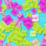 Scattered glasses of beer motif in showy colors. Scattered glasses of beer motif in pink, green, blue spectrum Royalty Free Stock Image