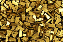 Scattered gold bars. 3d rendering of scattered gold bars Stock Photo