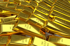 Scattered gold bars. 3d rendering of scattered fine gold bars Royalty Free Stock Photography