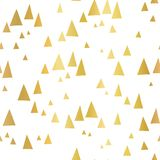 Scattered gold foil triangles on white seamless vector pattern. Abstract geometric background. Abstract mountain landscape in royalty free illustration
