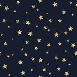 Gold Glitter Stars Seamless Pattern vector illustration