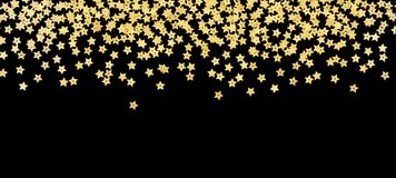 Scattered gold star shape confetti border. Isolated on black background royalty free stock image