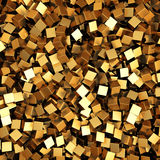 Scattered golden cubes chaotic background. 3d render Illustration Stock Photo