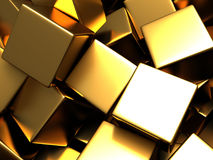 Scattered golden cubes chaotic background. 3d render Illustration Royalty Free Stock Image