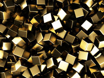 Scattered golden cubes chaotic background. 3d render Illustration Stock Photos