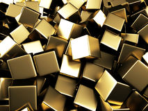 Scattered golden cubes chaotic background. 3d render Illustration Royalty Free Stock Photo