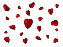 Scattered hearts. Scattered 3d hearts on a white background Royalty Free Stock Photo