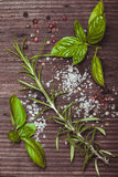 Scattered herbs and salt Stock Image