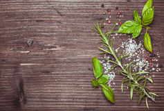 Scattered herbs and salt Royalty Free Stock Photography