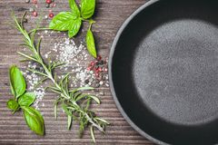 Scattered herbs and salt Stock Photos