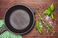 Scattered herbs and salt Royalty Free Stock Photo
