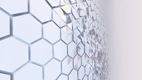 Scattered hexagon geometric perspective grid. 3d rendering of abstract hexagon geometric perspective grid. Scattered white futuristic hexagonal layered wall royalty free illustration